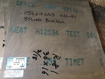 Titanium Sheet 6al-4v Mill Timet 0.56x 12 X 36.