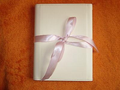 Fotoalbum, elfenbein, für Hochzeit / Baby, aufstellbar, mitnehmbar, rosa Bänder (Fotoalbum Elfenbein)