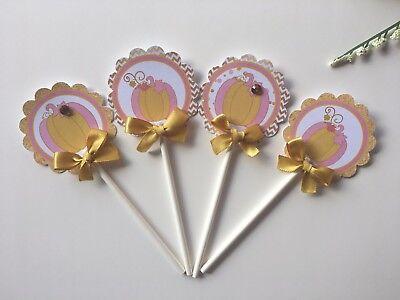 Pumpkin/ Pumpkin Cupcake Toppers/ Pumpkin baby shower/ Pumpkin pink and - Purple And Gold Baby Shower
