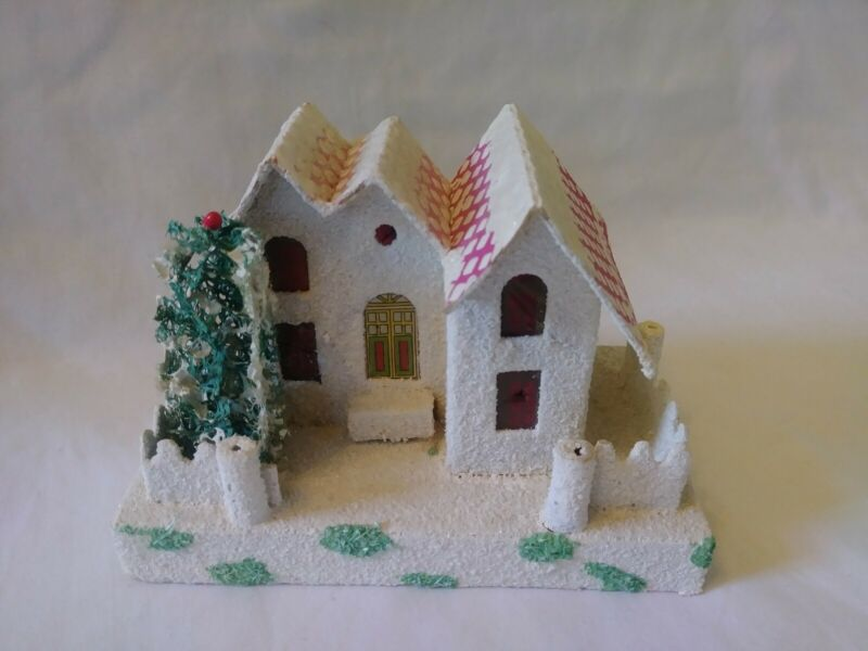 """RARE VINTAGE STUNNING PUTZ MANSION HOUSE """"GREEN SPOT"""" CHECKERED PINK ROOF"""