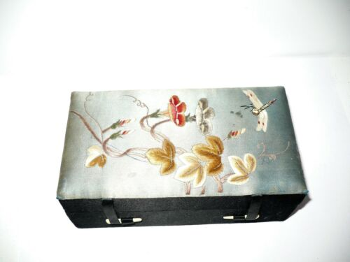 Vintage Asian Embroidered Silk Jewelry Box Japanese Chinese Flowers Dragonfly