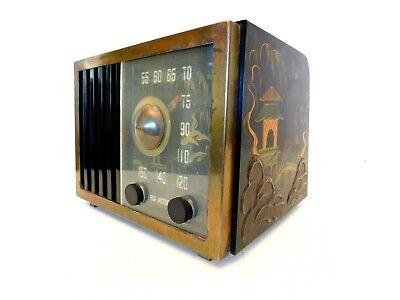 VINTAGE 1940s OLD RESTORED RCA VICTOR ORIENTAL RAISED ASIAN GARDEN ANTIQUE RADIO - $13.50