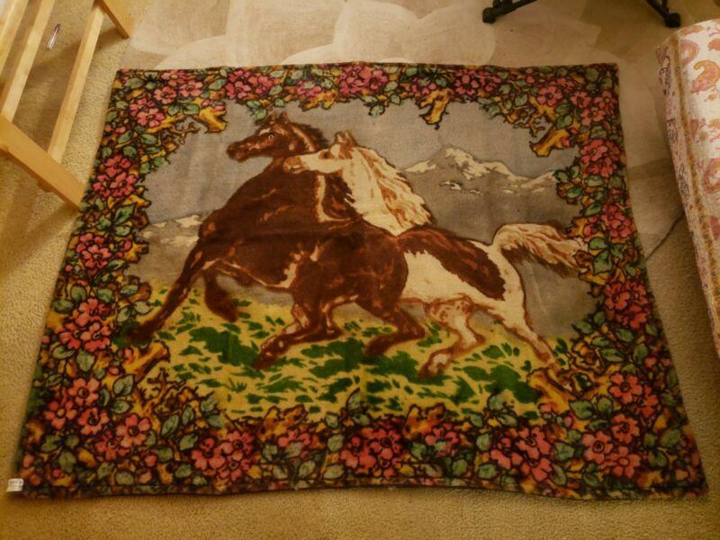 Antique CHASE Sleigh Blanket  Robe 2 Horse Design Mohair