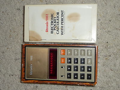 Vintage LITRONIX 1102 Electronic Pocket Calculator w/ Percent