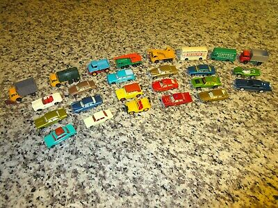 Matchbox Lesney Lot of 25 Vintage Cars Black Wheel & Superfast