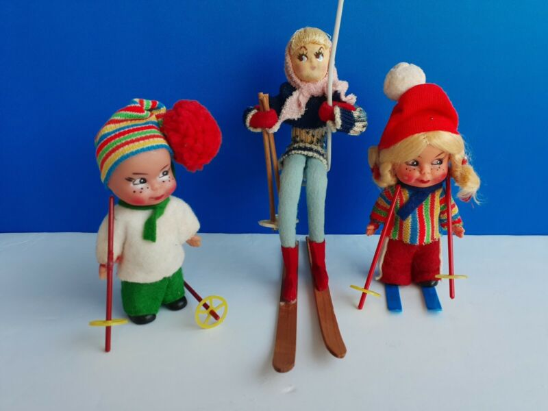 VTG MADE JAPAN NAPCO SKIER FIGURE DOLL, +2  German SKIERS Dolls and poles