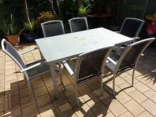 FROSTED GLASS TOP OUTDOOR DINING TABLE Alberton Port Adelaide Area Preview