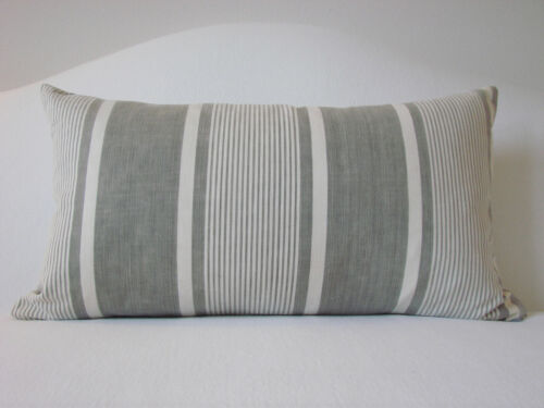 "Vintage Antique French Ticking Grey Striped Lumbar Pillow 22"" x 12"""