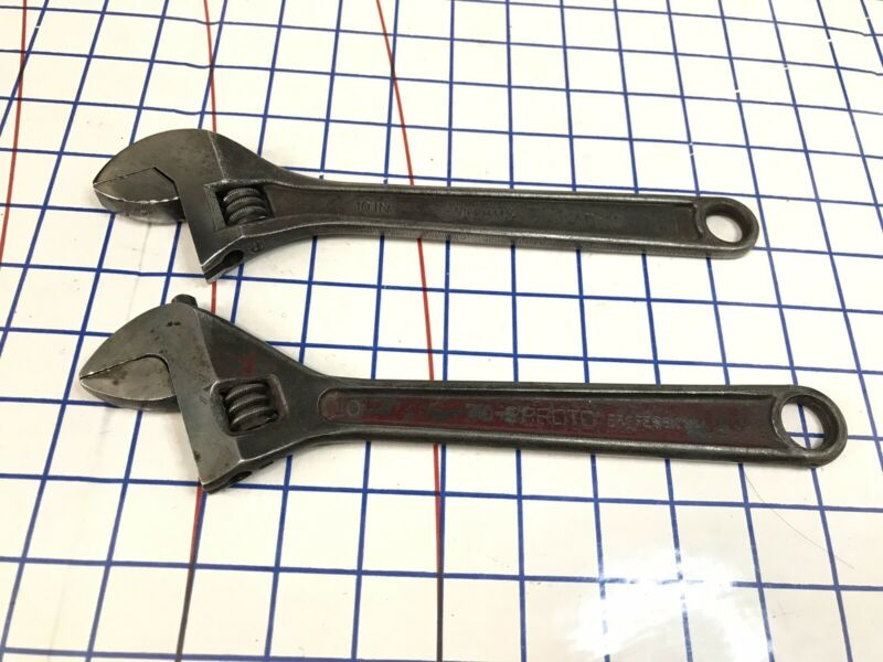 Lot Of 2 USA 10in. PROTO & Williams Adjustable Crescent Wrenches 710-S AB-10