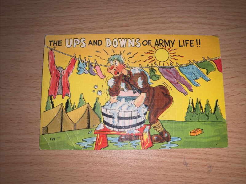 WWII Postcard Colourpicture Pub The Ups and Downs of Army Life Cartoon Linen