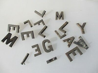 Vintage Brass Letters Machine Door Sign Antique Old Job Lot Bulk Letter  1.75