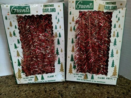 Vtg Grants Christmas Garland Gold Red Original Box West Germany Lot of 2 boxes