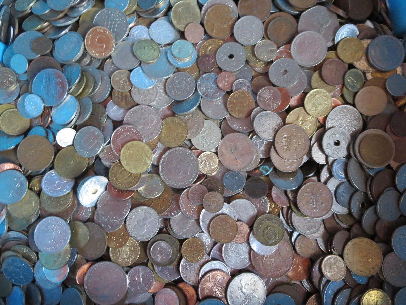 1 Kg Münzen überwiegend Europa - möglich auch Nordamerika - Kilo - Kilogramm