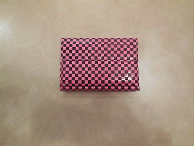 Vintage 80s  Neon Pink Checkered Paper And Pen Set - Neon Pink Paper