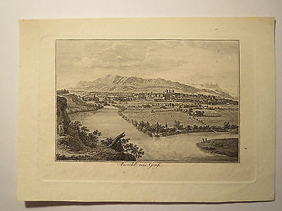 Ansicht von Genf - Alter Druck um 1820/30 / Stammbuchblatt