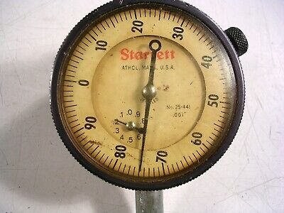 Starrett Dial Indicator 25-441 2 Face .001 With Mounting Ring