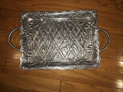 "SIlver-Color Metal Tray 12"" x16"" R H MACY India Macy's like Wilton Armetale  for sale  Knoxville"