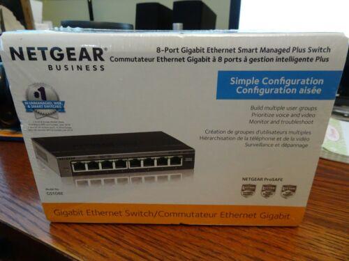 NETGEAR 8-Port Gigabit Ethernet Smart Managed Plus Switch GS108E-300NAS NIB