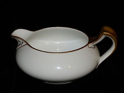 LIMOGES HAVILAND & CO. WHITE & FROSTED GOLD TRIM CHINA CREAMER 5 1/2