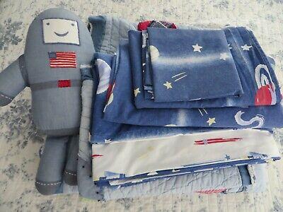 Pottery Barn Kids Twin SET SPACE Duvet Sham Sheets Pillowcase Quilt Plush Toy