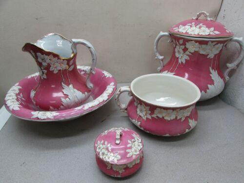 Vintage WOW Wheeling Pottery La Belle Chamber Pots Pitcher Basin Dish Floral
