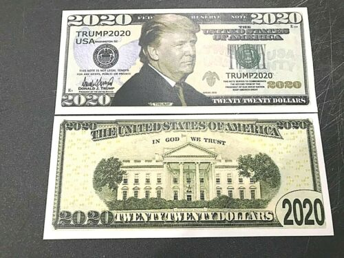 3 Different President Trump in 2020 Dollar Bill Fake Play Money + FREE SLEEVE