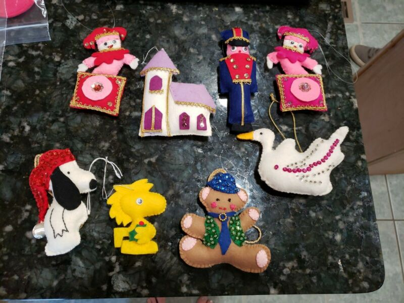 8 Sequin Felt Christmas Ornaments Jack In Box Goose Soldier Snoopy Woodstock++