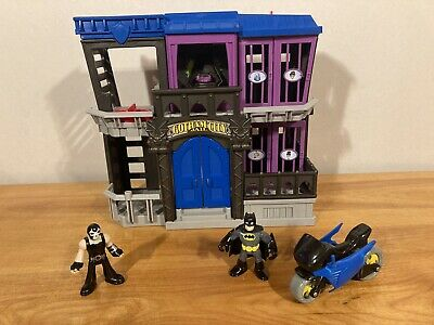 Imaginext BATMAN Gotham City Jail w/ BANE Figure and batcycle