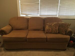 Tan and Rust Colour Love seat and Couch