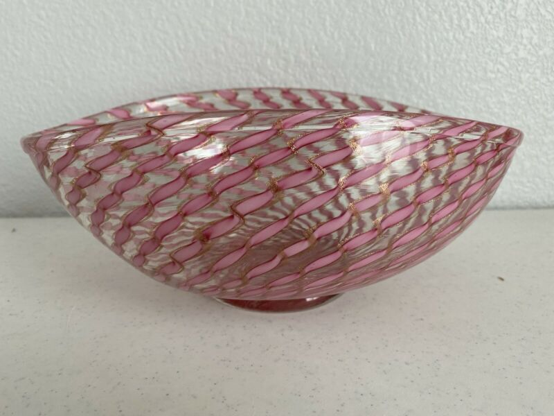Fratelli Toso Murano Art Glass Centerpiece Bowl 1960