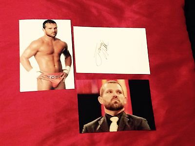 wwe jamie noble signed record card with 2 4x6 photos rare proof