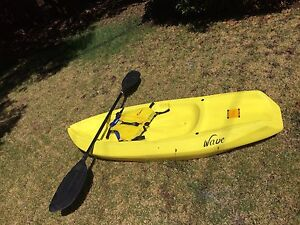 Child kayak rated to 50kg paddle and life jacket rated to 40 kg Melton South Melton Area Preview