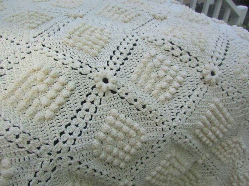 "Vintage Hand-Crocheted Bedspread or Throw, Popcorn Pattern, Heavy, 80"" x 100"""