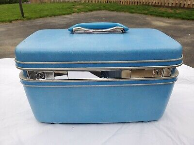 Vintage Samsonite Silhouette Blue Train Travel Makeup Case w/ tray
