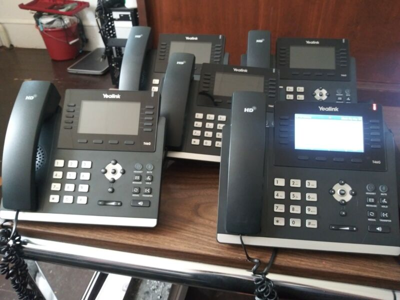 "5 X Yealink SIP-T46G IP Phone - Black W/AC ADAPTER/STAND ""8/10"" CONDITION"