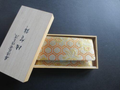 Vntg JapaneseGold Orange Brocade Clutch Bag Use with Kimono Envelope Wood Box