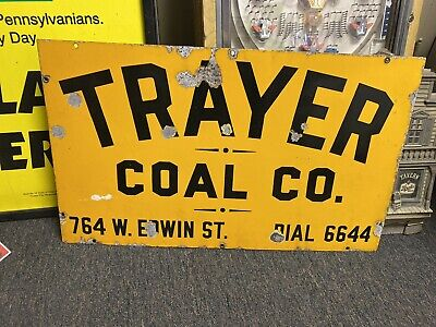 Early Yellow Porcelain Trayer Coal Company Sign Bellaire Enamel Co NY 30x18