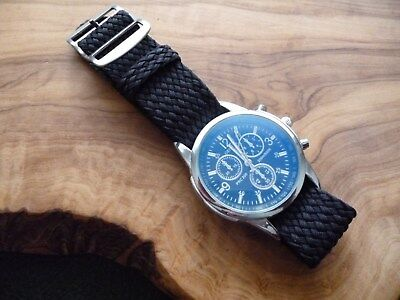 Used, 20mm G10 Zulu Sports Nato  Perlon Style Black Woven Nylon Watch Strap UK Supply for sale  Lichfield