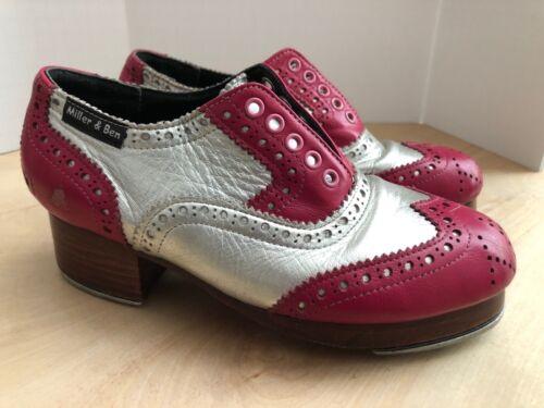 Miller & Ben Custom Jazz Tap Shoes Leather Silver Burgundy Size 34.5 / US 3.5