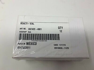 New Sealed Pack Of 12 Thermo Fisher Reacti-vial 5 Ml Clear Ts-13223
