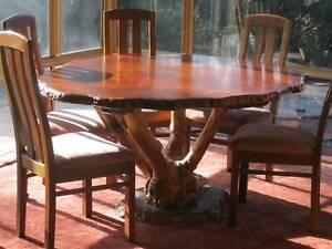 Jarrah Burl Dining Table and 6 Chairs