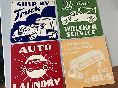 Land Of Nod Vintage Set of 4  Transportation Metal Truck Sign Plaque Decor
