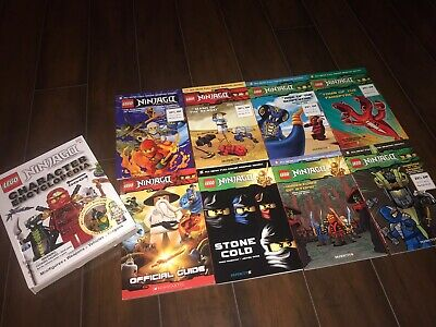Huge Lot Of 9 Lego Ninjago Books Inckuding Hardback Bonus Figure