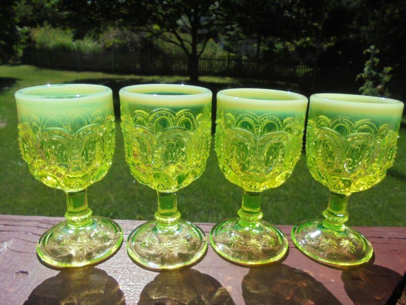"4 Scarce L E Smith Yellow Vaseline Opalescent Moon & Stars Wine Goblets 4 1/2"""