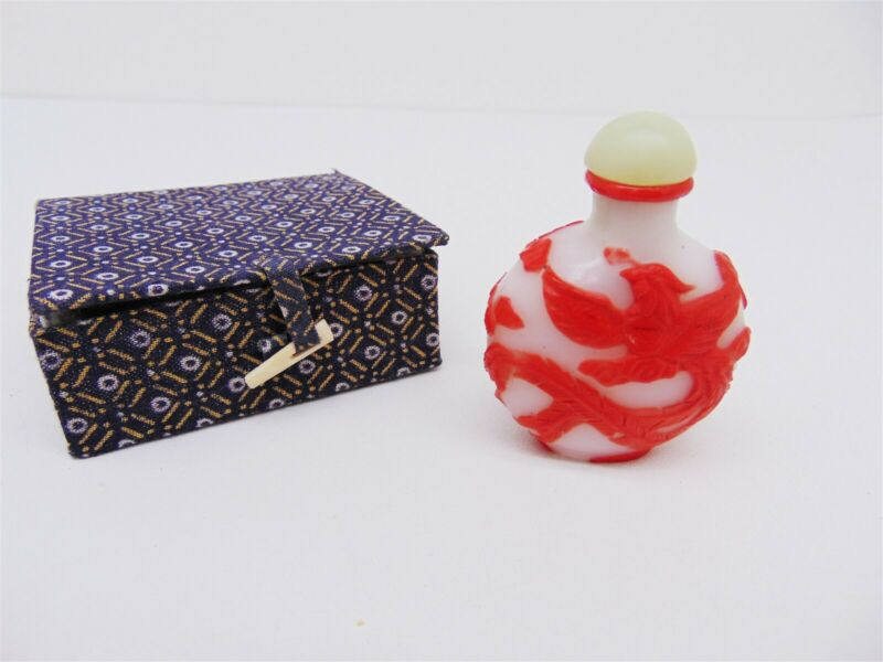 Vintage Chinese Carved Glass Snuff Bottle Red Dragon w/ Cloth Covered Box