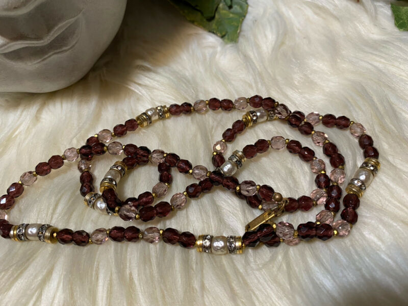 Miriam Haskell Purple Glass And Pearl Necklace!!! A3