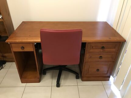 Solid Timber Office Desk + Chair
