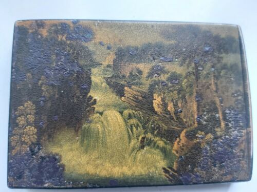 An early Scottish miniature painted card case, integral hinge. Used condition.