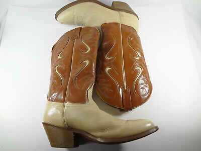 Acme Cowboy Boots Brown And Cream with Cream inlays Mens Size 10.5D