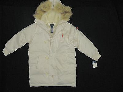 NEW Polo Ralph Lauren Girls Down Puffer Coat! 6 *Off White with Fur Trim Hood*